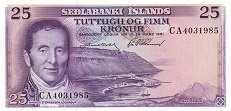 Исландия: 25 крон 1961 г.