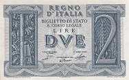 Италия: 2 лиры 1939 г.