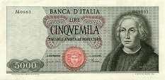 Италия: 5000 лир 1964-70 г.