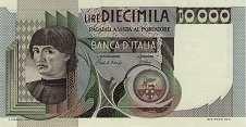 Италия: 10000 лир 1976-84 г.