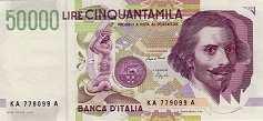 Италия: 50000 лир 1992 г.