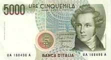 Италия: 5000 лир 1985 г.