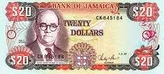 Ямайка: 20 долларов 1985-99 г.