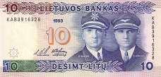 Литва: 10 литов 1993 г.