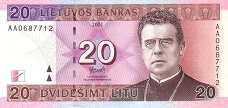 Литва: 20 литов 2001 г.
