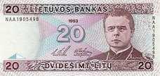 Литва: 20 литов 1993 г.
