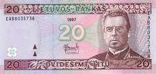 Литва: 20 литов 1997 г.