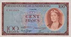 Люксембург: 100 франков 1956 г.