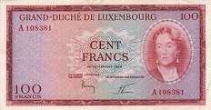 Люксембург: 100 франков 1963 г.