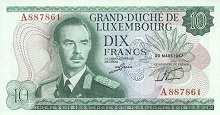 Люксембург: 10 франков 1967 г.