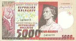 Мадагаскар: 5000 франков (1974 г.)