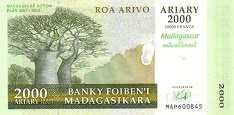 Мадагаскар: 2000 ариари (юбилейная) 2007 г.