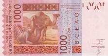 Мали: 1000 франков CFA-BCEAO 2003-16 г.