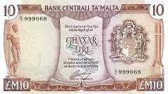 Мальта: 10 лир (1973 г.)