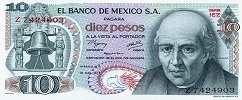Мексика: 10 песо 1969-77 г.