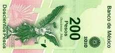 Мексика: 200 песо (юбилейная) 2008 г.
