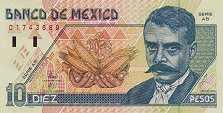 Мексика: 10 песо 1992-96 г.