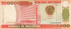 Мозамбик: 100000 метикалов 1993 г.