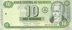 Никарагуа: 10 кордобов 2002 г.