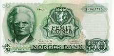 Норвегия: 50 крон 1966-83 г.