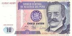 Перу: 10 инти 1985-87 г.