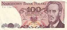 Польша: 100 злотых 1975-88 г.