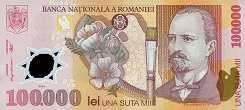 Румыния: 100000 леев 2001 г.
