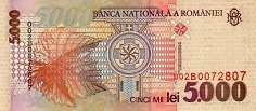 Румыния: 5000 леев 1998 г.