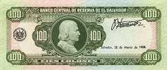 Сальвадор: 100 колонов 1977-88 г.