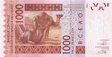 Сенегал: 1000 франков CFA-BCEAO 2003-16 г.