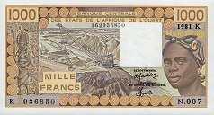 Сенегал: 1000 франков CFA-BCEAO (1981-90 г.)