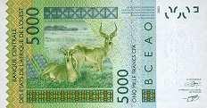 Сенегал: 5000 франков CFA-BCEAO 2003-16 г.