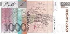 Словения: 1000 толаров 1992 г.
