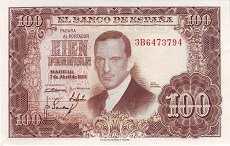 Испания: 100 песет 1953 г.