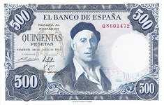 Испания: 500 песет 1954 г.