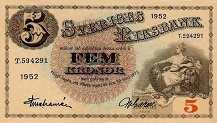 Швеция: 5 крон 1918-52 г.