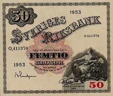 Швеция: 50 крон 1918-62 г.