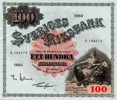 Швеция: 100 крон 1918-63 г.