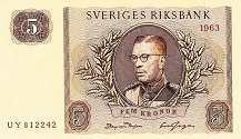 Швеция: 5 крон 1955-63 г.