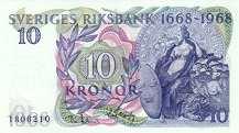 Швеция: 10 крон 1968 г. (юбилейная)