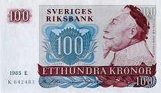 Швеция: 100 крон 1965-85 г.