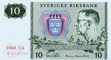Швеция: 10 крон 1963-90 г.