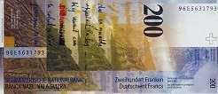 Швейцария: 200 франков 1996-2013 г.
