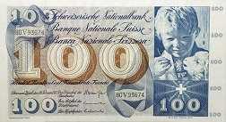 Швейцария: 100 франков 1956-73 г.