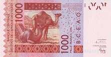 Того: 1000 франков CFA-BCEAO 2003-17 г.