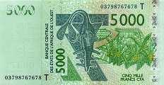 Того: 5000 франков CFA-BCEAO 2003-17 г.