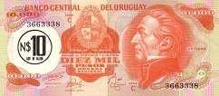 Уругвай: 10000 песо (1974 г.) / 10 песо (1975 г.)
