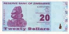 Зимбабве: 20 долларов 2009 г.