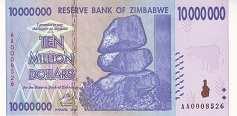 Зимбабве: 10 миллионов долларов 2008 г.