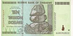 Зимбабве: 10 триллионов долларов 2008 г.